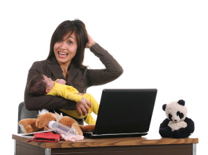 bigstockphoto_Asian_Business_Woman_And_Baby_5110436